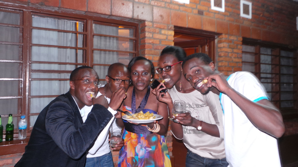 Alieu, Roland, Annette and others at a party
