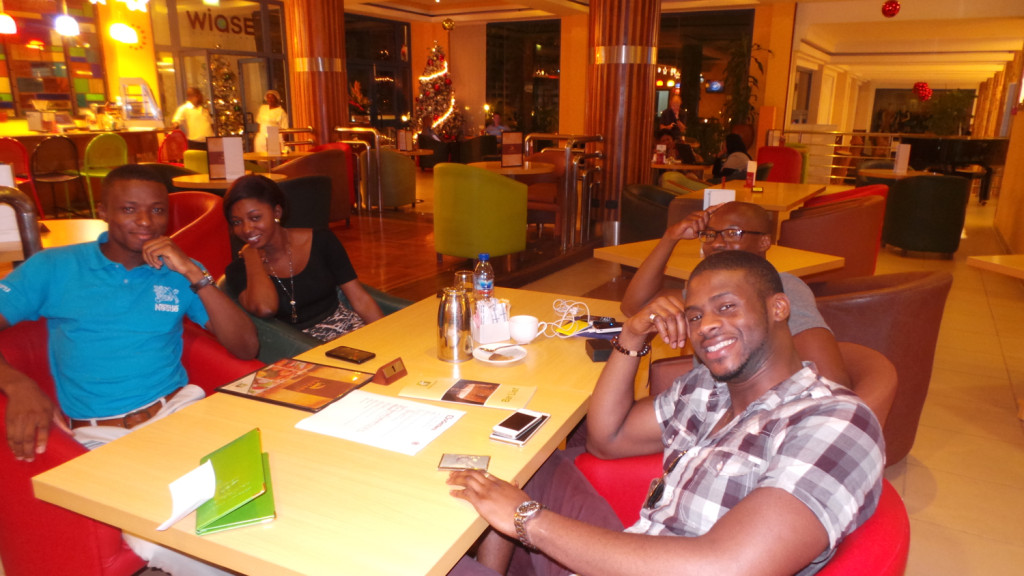 Alieu, John and Tola in a meeting with Enak Consulting at Holiday Inn in Accra